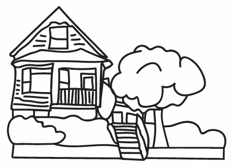 Black and white outline drawing of the Red House, with front porch, stairs, and a big tree on the right